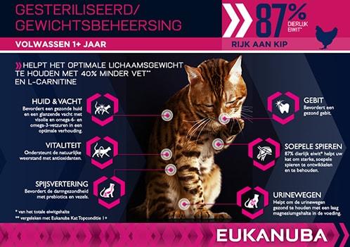 EUKANUBA Volwassen Droge Kattenvoeding Voor Katten Met Overgewicht/Gesteriliseerde Katten Kip RTP PT
